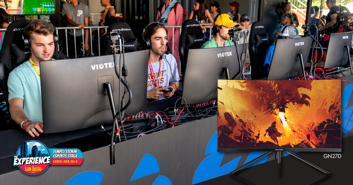 Pro-players at The Experience at SDCC gaming on Viotek GN27D curved gaming monitors.